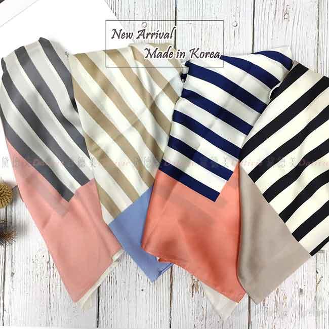 絲巾 韓國 方巾 條紋 四色 領巾