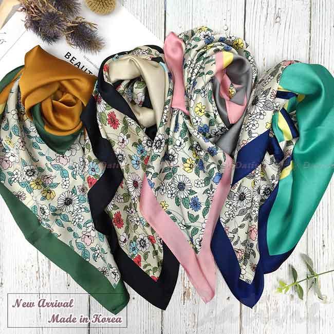 絲巾 韓國 領巾 四色 花花 方巾