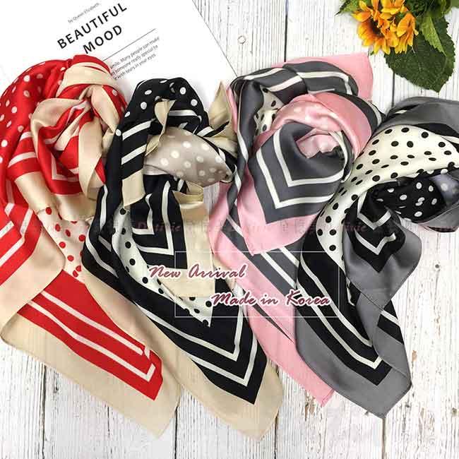絲巾 韓國 方巾 點點 四色 復古風 領巾