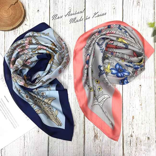 方巾 韓國 領巾 花 粉色 絲巾