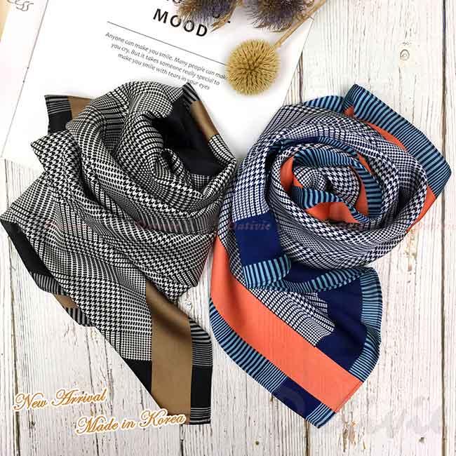 絲巾 韓國 方巾 二款 撞色 領巾