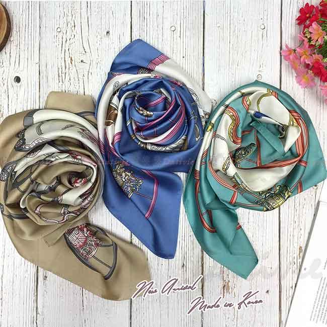 絲巾 韓國 方巾 三色 圖騰 領巾
