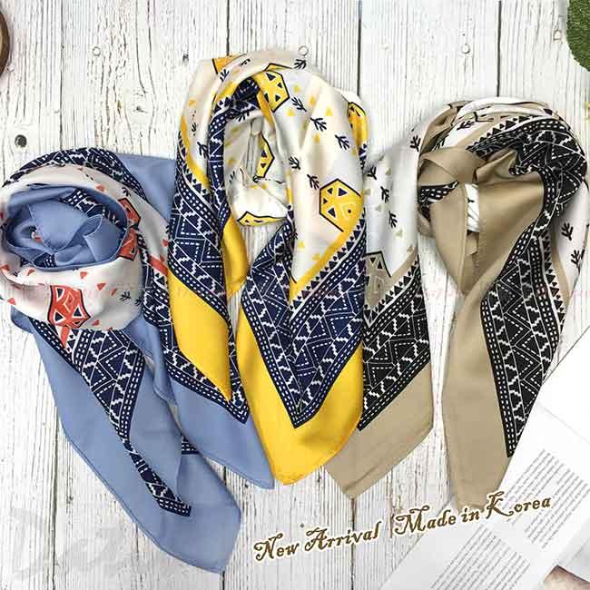 絲巾 韓國 方巾 圖騰 三色 領巾