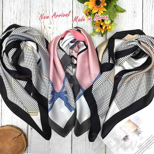 絲巾 韓國 方巾 蝴蝶結 點點 領巾