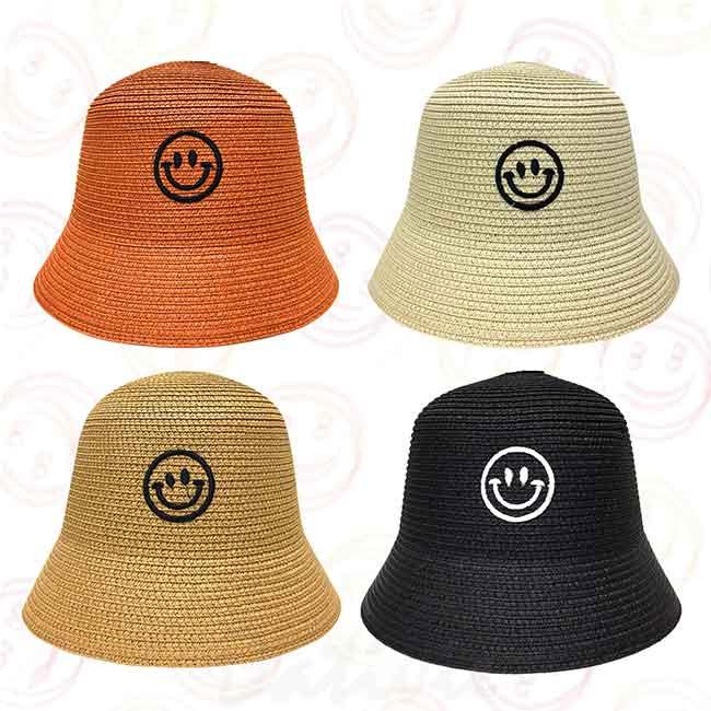 漁夫帽 笑臉 遮陽帽 四色 草帽