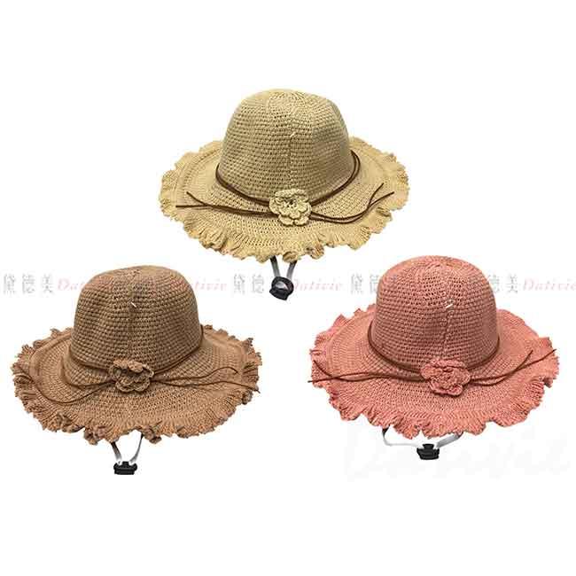 草帽 花 編織 3色 遮陽帽