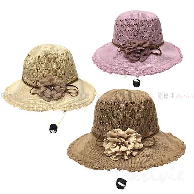 淑女帽 花 珍珠 水鑽 3色 遮陽帽