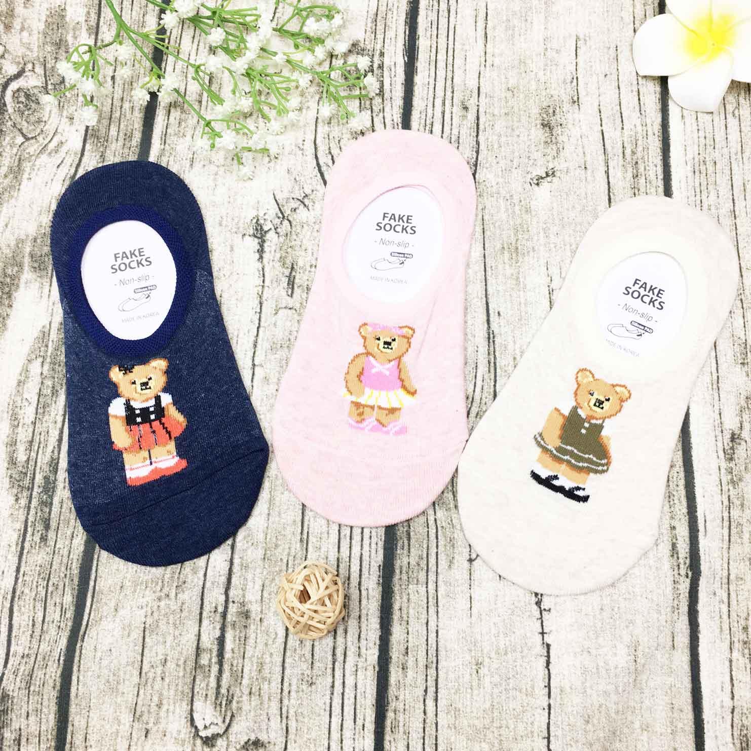 韓國襪 洋裝熊 襪子 防滑襪子 隱形襪