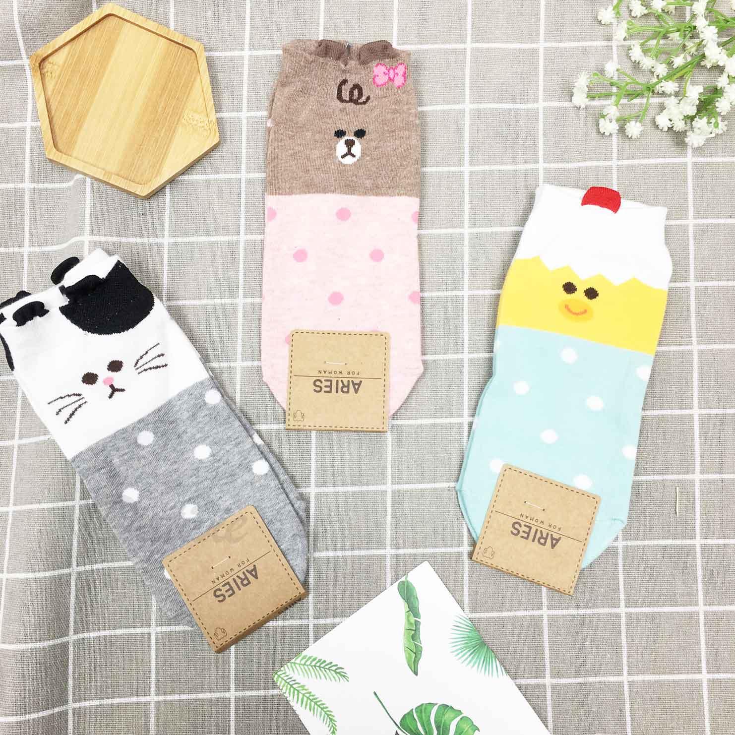 韓國襪 點點 貓 熊 雞 襪子