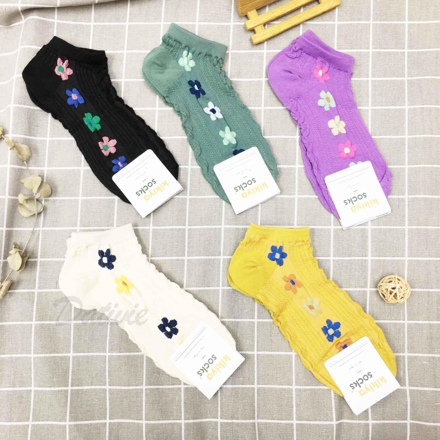 韓國襪 撞色花 五色 襪子