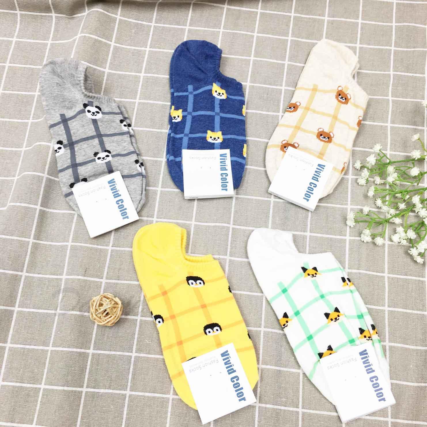 韓國襪 格紋 動物系列 隱形襪 止滑短襪