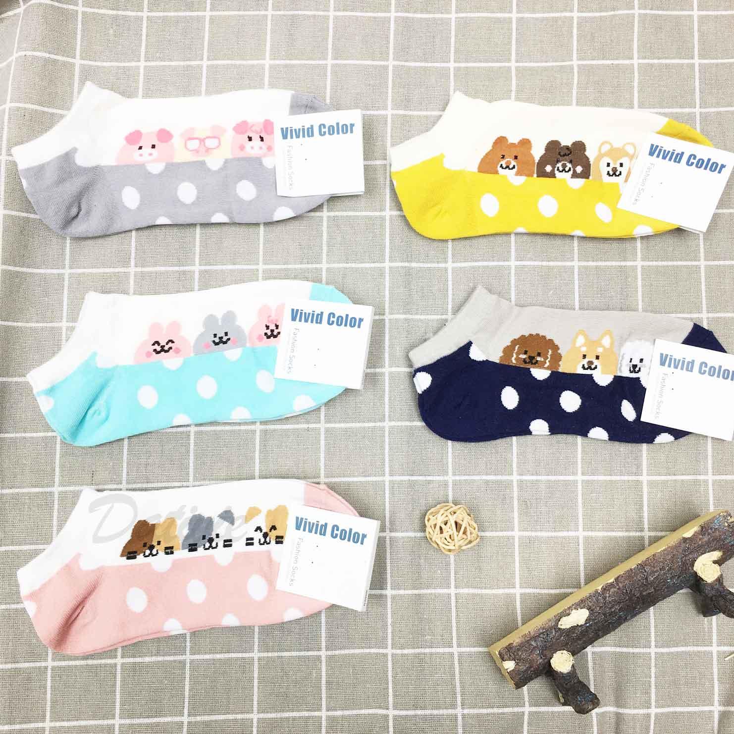 韓國襪 動物系列 點點 23~25cm 短襪