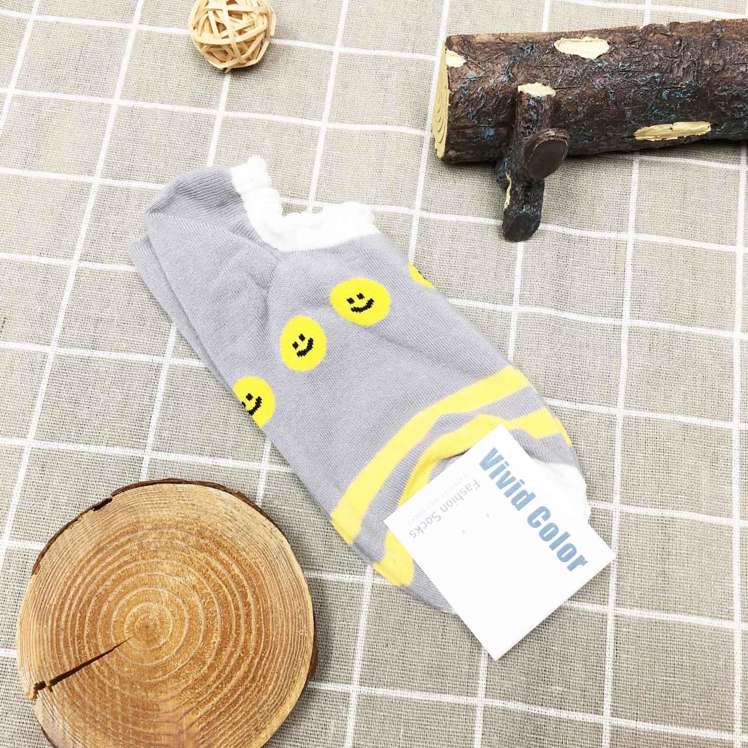 韓國襪 笑臉 條紋 灰 短襪 止滑襪