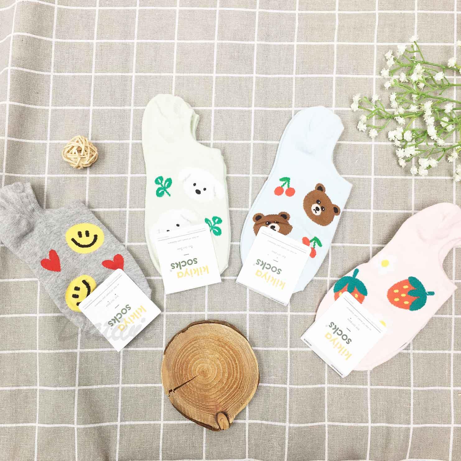 韓國襪 笑臉 愛心 草莓 花 熊 櫻桃 狗 隱形襪