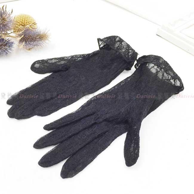 日本防UV蕾絲手套 全指手套 黑 吸汗 速乾 防曬手套