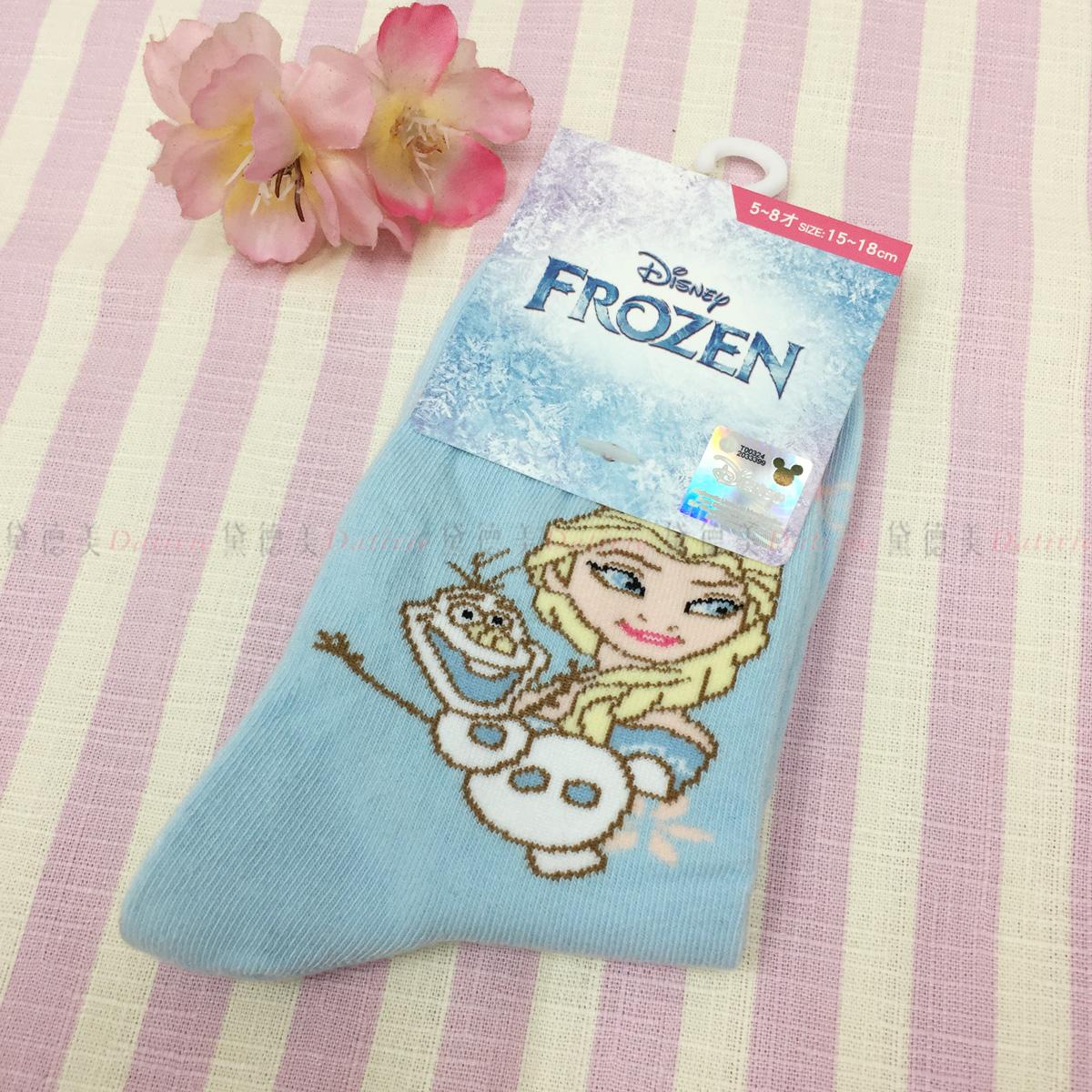 1/2襪 迪士尼 冰雪奇緣 Elsa 雪寶 15~18cm 襪子 正版授權